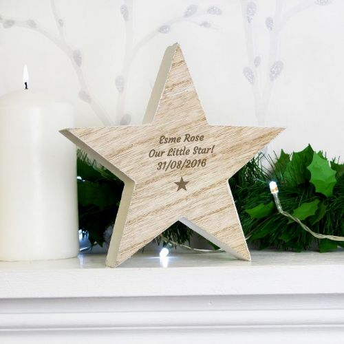 Personalised Rustic Wooden Star Decoration.